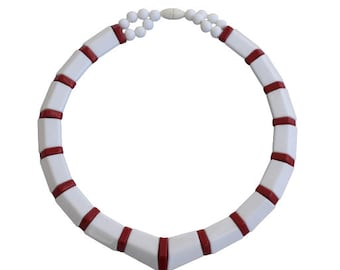1980s White and Red Lucite Plastic Geometric Color Block Minimalist Vintage Choker