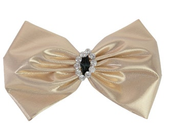 1980s AVON Gold Lamé & White Rhinestones Vintage Hair Bow Barrette Hair Clip hair Jewelery