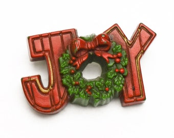 1980s Hallmark Cards Figural Plastic Rustic  JOY Holly Berry Wreath Christmas Lapel Pin Vintage Collectible Christmas Pin Brooch