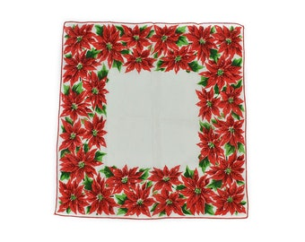 1960s White Red Green Christmas Pointsettia Vintage Cotton Holiday Square Hankerchief Hanky