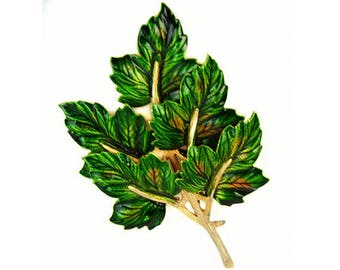 1960s Weiss Green and Brown Enamel Gold Tone Metal Leaf Leaves Vintage Figural Mid Century Brooch Pin