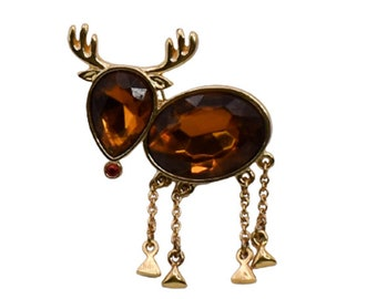 1990s Root Beer Brown Lucite Cabochons Reindeer Christmas Holiday Mid Century Vintage Figural Animal Pin Brooch