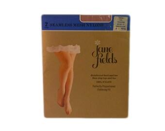 1960s Nylons By Julie Seamless Beige Sheer Flat Knit Vintage Dress Sheers Stockings Size Medium 10-1/2 Medium