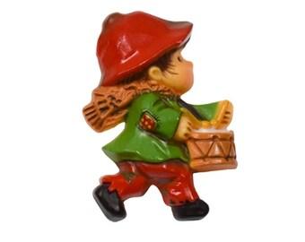 1984 Hallmark Figural Plastic Christmas Drummer Boy Vintage Pin Brooch