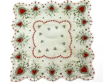 1950s 1960s Red Metallic Gold Heart Flower Floral Bouquet Hand Printed Valentine Vintage Cotton Sweetheart Hankerchief Hanky