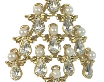 1990s Butler Wilson Gold Tone White Rhinestone Faux Pearls Open Design Stacked Angels Christmas Tree Holiday Vintage Figural Pin Brooch