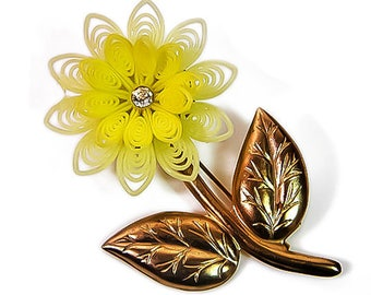 1940s Large Pale Yellow Plastic Rubber Gold Tone Metal & Rhinestone Flower VIntage Pin Brooch