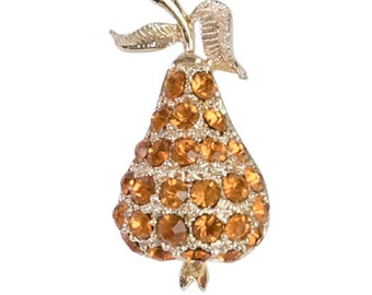 1960s Mod Amber Golden Yellow Gold Tone Metal Pear Figural Fruit Vintage Mid-Century Pin Brooch