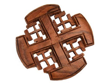 1970s Handcrafted Wood Maltese Cross Wooden Boho Hippie Chic Mid Century Vintage Pin Brooch