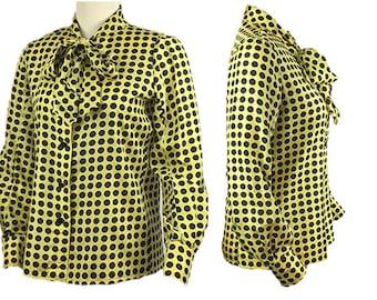 1970s Emanuel Ungaro Parallele Paris Yellow Black Polka Dot Silk Women's Vintage Ascot Secretary Pussy Bow Blouse Dress Blouse Shirt Size