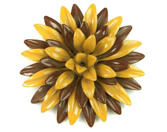 1960s Brown & Yellow Green Enamel on Metal 3 Dimensional Flower Floral Vintage Figural Mid Century Pin Brooch