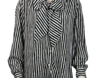 1970s Russ Collectables Black & White Zebra Striped Women's Polyester Vintage Ascot Secretary Pussy Bow Blouse Dress Blouse Shirt Size