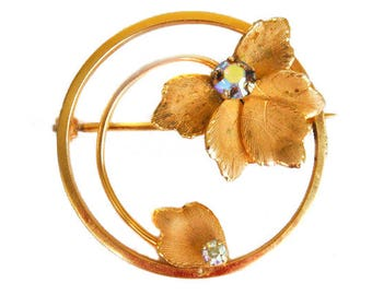 1950s UNCAS 12K GF with Aurora Borealis Rhinestone Round Gold Filled Enamel Leaf Leaves Vintage Mid Century Circie Pin Brooch