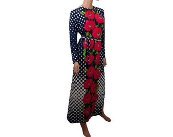 1970s Adele Simpson, Mod Red Poppy Floral & Polka Dote Print Long Sleeve Vintage Maxi Hostess Patio Dress Gown
