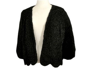 1950s Black Ribbon Vintage Mid Century Cocktail Evening Jacket from The Penguin Fur Shop Lawrence MA