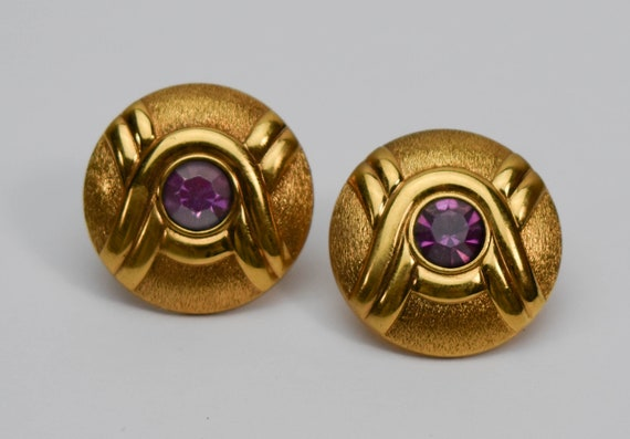 1980s LANVIN Germany Art Deco Inspired Gold Tone … - image 1