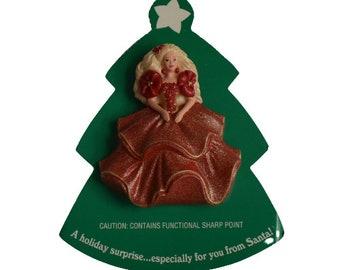 1995 Hallmark Holiday Barbie Doll #1 Red Dress Vintage Plastic Christmas Figural Pin Brooch