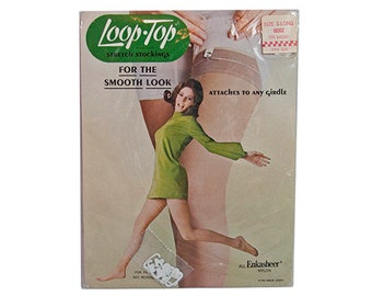 1980s Loop-Top Smooth Look Beige Stretch Stockings Nylons Size 3 Large New in Package NOS NIP Never Worn