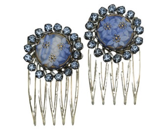 1980s 1990s Pair Icy Blue Rhinestone & Flower Floral Motif Vintage Decorative Side Comb Hair Comb Hair Jewelry