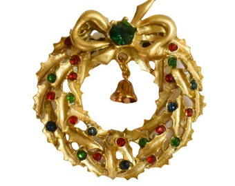1970s Gold Tone Red Green Blue Rhinestones Christmas Wreath with Bell & Bow Vintage Mid Century Yuletide Holiday Figural Pin Brooch