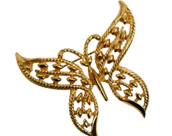 1960s Crown Trifari Gold Plated Open Design Vintage Butterfly Vintage Mid Century Figural Pin Brooch