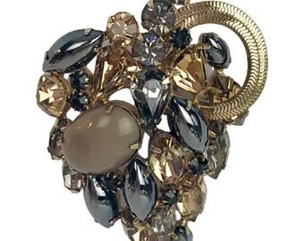 1960s Smokey Gray & Champange Rhinestones Hematite Navettes Layered Designer Inspired Vintage Leaf Unsigned Beauty Pin Brooch