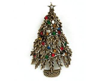 1960s ART Silver Tone Multicolored Rhinestone Festive Christmas Tree Pine Tree Mid Century Yuletide Vintage Figural Pin Brooch