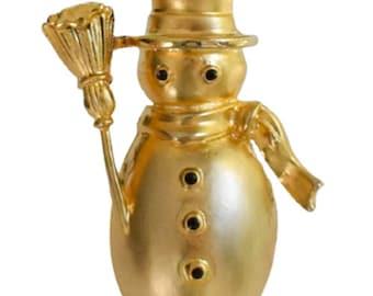 1990s New View Brushed Gold Tone & Black Enamel Snowman Vintage Festive Figural Pin Brooch