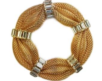 1950s Mesh Gold Tone Metal White Rhinestone Baguette Vintage Round Estate Jewelry Pin Brooch