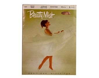 1980s Vintage Beauty Mist Skintone Seamless Micro Mesh Stockings Vintage Reinforced Heel & Toe Nylons New In Package Size 10-1/2 L