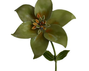 1960s Statement Making Soft Green & Enamel on Metal Oversized Dimensional Vintage Figural Flower Floral Brooch Pins