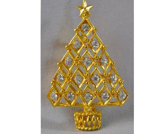 1990s Gold Tone & White Rhinestone Open Design Christmas Tree Holiday Vintage Figural Pin Brooch