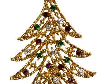 1980s Open Design Gold Tone Red Green & White Colored Crystal Rhinestones Christmas Tree Vintage Pin Brooch