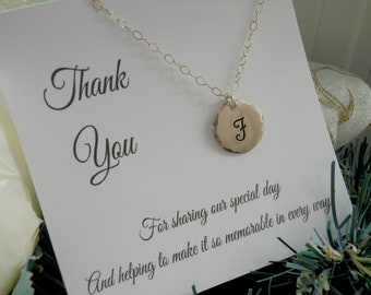 Personalized Bridesmaid Gift, Sterling Silver Initial Necklace, Necklace for Bridesmaids, Bridal Party Thank You Gifts, Monogram Jewelry