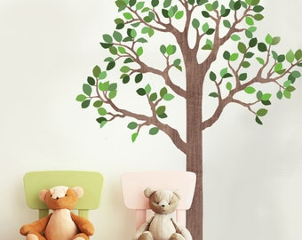 Tree Decal 7 Ft Woodland Tree Wall Decal, Forest Mural Removable and Reusable Eco-friendly Fabric Tree Mural Wall Stickers