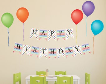 Wall Decals Happy Birthday Bunting Flags And Balloon Removable Reusable Peel Stick Colorful Party Decor