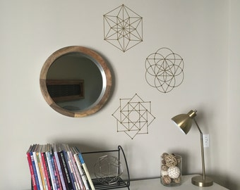 3 Sacred Geometry Wall Decals in Gold or Silver Metallic, Vinyl Colors, Geometric Vinyl Wall Decals/Stickers