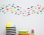 Rainbow Fish Wall Decals, Kids Wall Stickers, School of Fish Decals, Under the Sea Nursery Decals