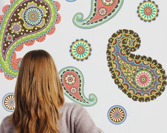 Paisley Dot Wall Decals Removable and Reusable  sc 1 st  Etsy & Paisley wall decal | Etsy