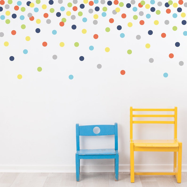 mini dot wall decals confetti polka dots navy orange green | etsy