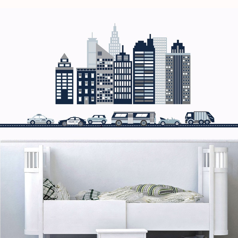 Sticker Mural Paysage Urbain White City Skyline Sticker Mural Etsy