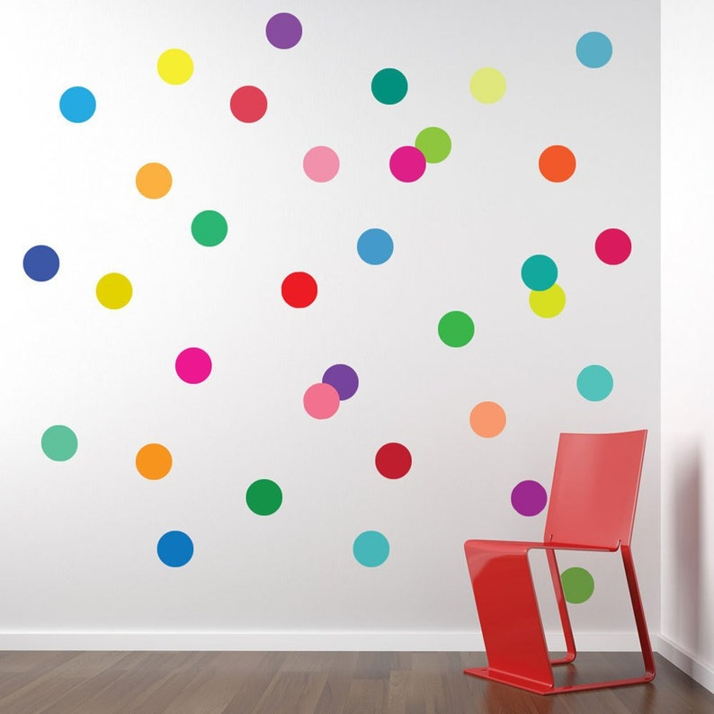 wall decals 36 confetti rainbow of colors polka dots | etsy
