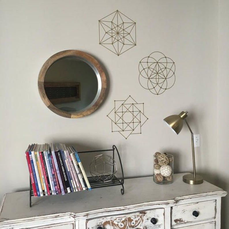 Sacred Geometry Modern Wall Decals in Metallic Gold Decals Silver Wall Decals Black or White Geometric Vinyl Mid-century Modern Walldecals