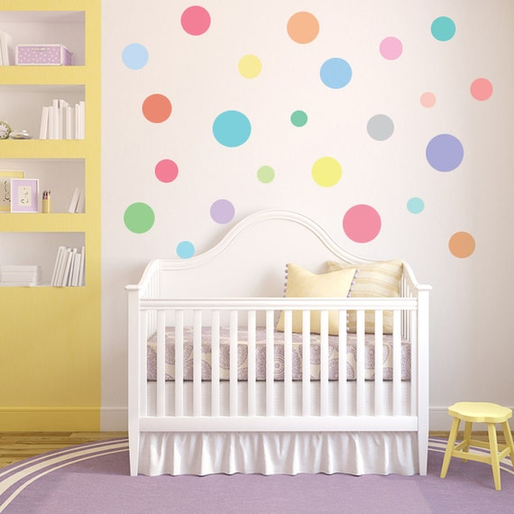wall decals dots 23 multi-sized sorbet color polka dots fabric eco