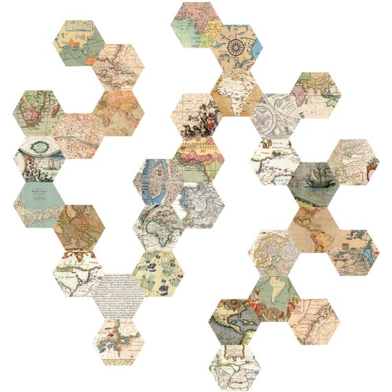 Wall decals 32 hexagon maps eco friendly peel and stick etsy image 0 gumiabroncs Images