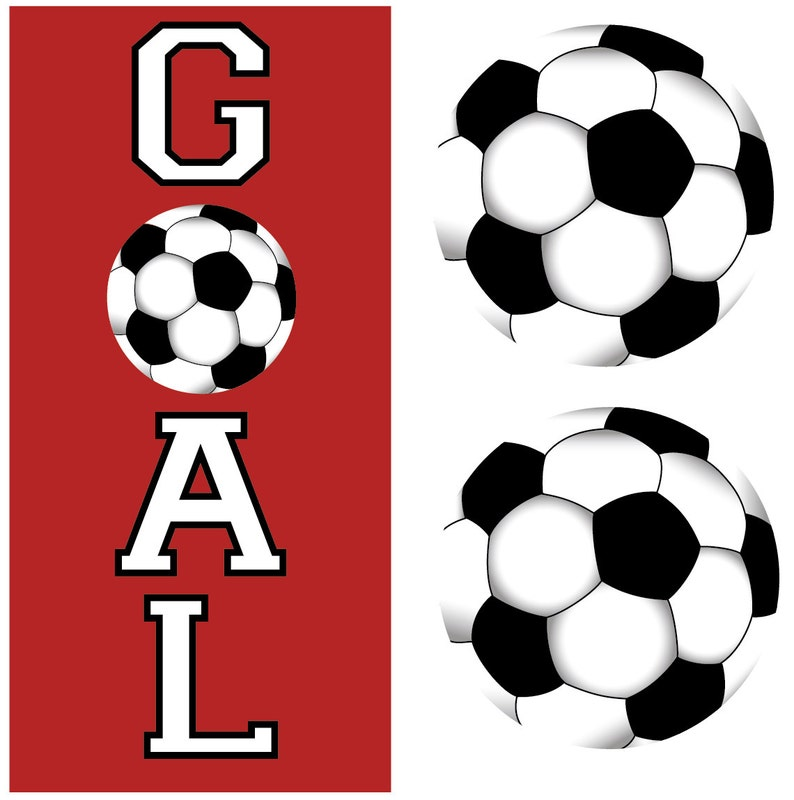 Two Soccer Balls and Goal Wall Decals Removable and Reusable