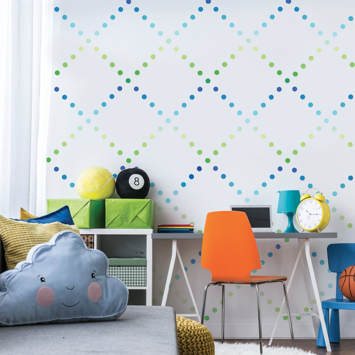 Polka Dots Wall Stickers Nursery Room Decor Removable PVC Stickers 6 sheets