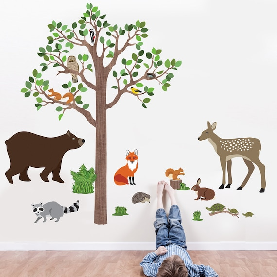 woodland mural tree wall decal animal wall decal forest mural etsy. Black Bedroom Furniture Sets. Home Design Ideas