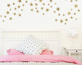 55 Star Decals Silver Decals or Gold Star Decals Metallic Multi-sized 5 Point Vinyl Star Wall Decals