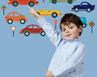 Cool Cars Wall Decals Stickers, Removable and Reusable Fabric  Eco-friendly Wall Decal Stickers